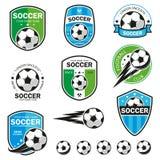 Sistema de logotipos del fútbol stock de ilustración