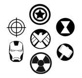 Sistema de logotipos del negro de la maravilla de los vengadores ilustración del vector
