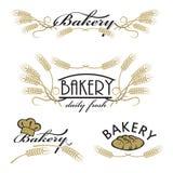 Sistema de logotipos del producto de la panadería Fotos de archivo