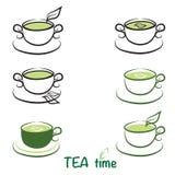 Sistema de logotipos del té Fotografía de archivo