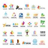 Sistema de logotipos del vector sociales stock de ilustración