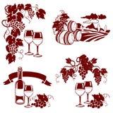 Sistema de logotipos del vino, impresión Foto de archivo libre de regalías
