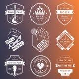 Sistema de logotipos del vintage de la música rock y del rock-and-roll Imágenes de archivo libres de regalías