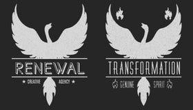 Sistema de logotipos del vintage del símbolo de Phoenix, de emblemas, de siluetas y de elementos del diseño Logotipos simbólicos  Fotos de archivo