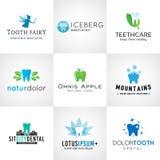 Sistema de logotipos dentales Diseños del diente del vector brillante Imágenes de archivo libres de regalías