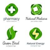 Sistema de logotipos ecológicos del vector Imagen de archivo libre de regalías