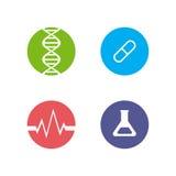 Sistema de logotipos en el tema de la medicina y de la salud Fotografía de archivo libre de regalías
