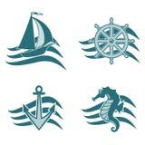 Sistema de logotipos en el tema del mar Foto de archivo libre de regalías