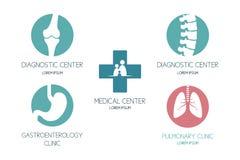 Sistema de logotipos en un tema médico ilustración del vector