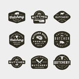 Sistema de logotipos de la carnicería del vintage emblemas diseñados retros de la tienda de carne Ilustración del vector stock de ilustración