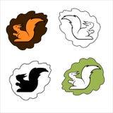 Sistema de logotipos lindos del animal doméstico, estilo del vector de la historieta ilustración del vector