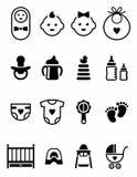 Sistema de logotipos negros de los iconos de los clip art del bebé en el fondo blanco libre illustration