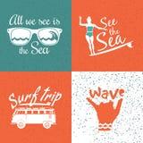 Sistema de logotipos que practican surf del vintage Imagen de archivo