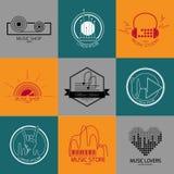 Sistema de logotipos y de muestras de la música del vector Foto de archivo libre de regalías