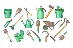 Sistema de los accesorios del jardín para las plantas de cultivación, poda del vector, cavando, regando y aflojando la tierra Lín stock de ilustración