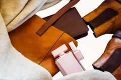 Sistema de los accesorios elegantes para el otoño Imágenes de archivo libres de regalías