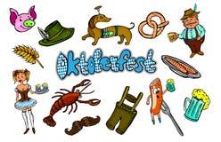 Sistema de los accesorios de Oktoberfest para el festival ilustración del vector