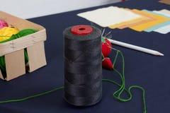 Sistema de los accesorios para coser Imagenes de archivo