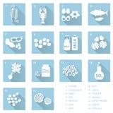 Sistema de los alergens típicos de la comida para los restaurantes y los iconos azules planos eps10 de la comida Foto de archivo