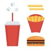 Sistema de los alimentos de preparación rápida, colección aislada en el fondo blanco Patatas fritas, soda, cheeseburger Imagen de archivo