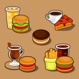 Sistema de los alimentos de preparación rápida y de la torta de la historieta colorida. Fotos de archivo