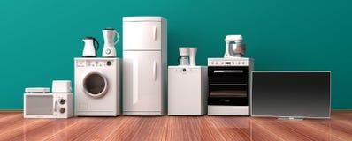 Sistema de los aparatos electrodomésticos en un piso de madera ilustración 3D Fotografía de archivo libre de regalías
