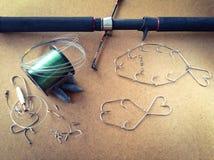 Sistema de los aparejos de pesca Fotografía de archivo