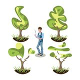 Sistema de los arbustos del topiary de diversas formas ilustración del vector