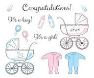 Sistema de los artículos para recién nacido Imágenes de archivo libres de regalías