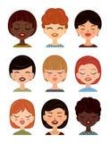 Sistema de los avatares de las mujeres, imágenes del perfil Avatar de las muchachas del vector, iconos planos Fotografía de archivo libre de regalías