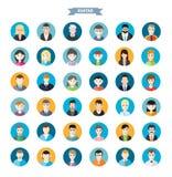 Sistema de los avatares elegantes hombre y de los iconos de la mujer Foto de archivo libre de regalías