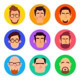 Sistema de los avatares masculinos en estilo plano de la historieta imágenes de archivo libres de regalías