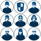 Sistema de los avatares planos del vector para la agencia de seguridad Fotos de archivo