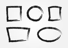 Sistema de los bastidores del grunge para el texto Fronteras rasgadas pintadas con un cepillo ilustración del vector