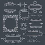 Sistema de los bastidores del vintage para los logotipos de lujo para el café, tienda, tienda, con referencia a ilustración del vector