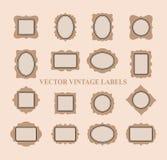 Sistema de los bastidores y de los elementos del diseño - vector del vintage Foto de archivo