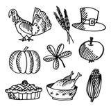 Sistema de los bosquejos del negro de la acción de gracias, objetos Fotografía de archivo libre de regalías