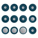 Sistema de los botones blancos azules para Internet Stock de ilustración