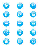 Sistema de los botones circulares azules y blancos para los usos o el web del teléfono móvil Fotografía de archivo libre de regalías