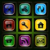 Sistema de los botones de cristal Fotografía de archivo libre de regalías