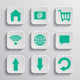 Sistema de los botones de papel del app Imagen de archivo libre de regalías