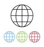 Sistema de los botones del color del ejemplo del vector del icono de la tierra del globo libre illustration
