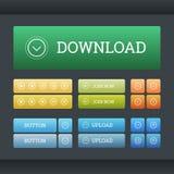 Sistema de los botones del web de la pendiente ilustración del vector