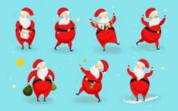 Sistema de los caracteres lindos de Papá Noel aislados en fondo azul cristo stock de ilustración
