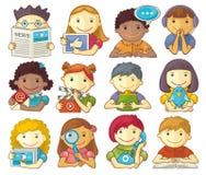 Sistema de los caracteres lindos para el menú Web stock de ilustración