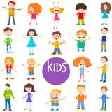 Sistema de los caracteres de los niños y de las adolescencias de la historieta ilustración del vector