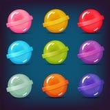 Sistema de los caramelos de la piruleta de diversos colores ilustración del vector
