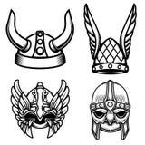 Sistema de los cascos de vikingo aislados en el fondo blanco Diseñe el elemento para el logotipo, etiqueta, muestra Fotografía de archivo libre de regalías