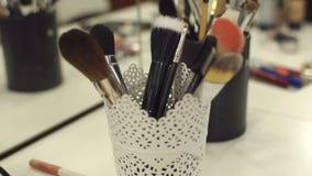 Sistema de los cepillos del profesional para el maquillaje almacen de video