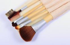 Sistema de los cepillos para el maquillaje Foto de archivo libre de regalías